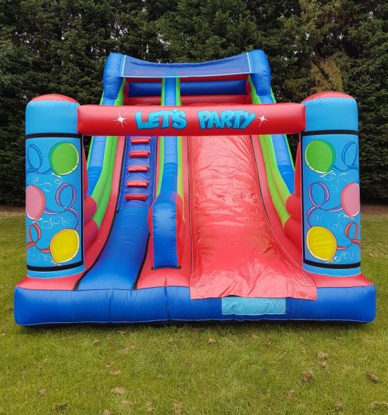 Let's Party Themed Inflatable Slide